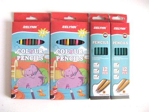 7'' 12 pcs Round Plastic Color Pencils In Color Box