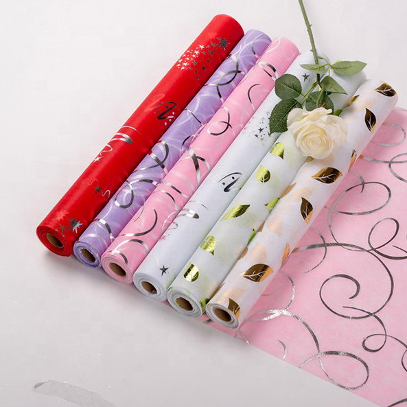 polyester Metallic Non-woven tissue fabric with long fiber for Florist wrapping